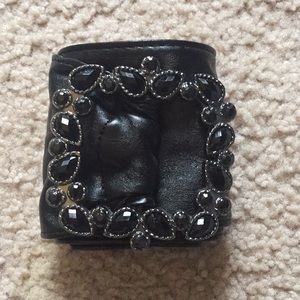 Black rhinestone faux leather belt